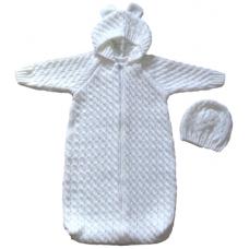 Дитячий комбінезон-кокон + шапка Білий 0775