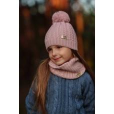 Демісезонна шапка дитяча Пудра 0822