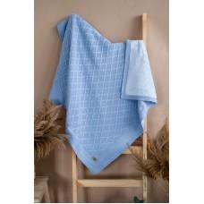 Плед дитячий на махровій підкладці Блакитний 0801
